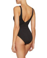 Iris & Ink Black Wrap-effect Knotted Swimsuit