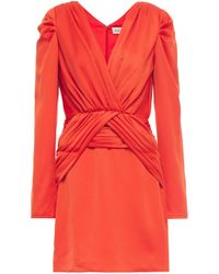 Nicholas Ruched Satin-crepe Mini Dress Orange