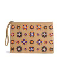 Versus  Multicolor Woman Embellished Floral-appliquéd Leather Pouch Sand