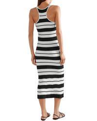 Jason Wu Striped Ribbed Silk-blend Midi Dress Off-white