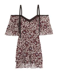 Cinq À Sept Multicolor Corinna Cold-shoulder Satin-trimmed Printed Silk-chiffon Mini Dress