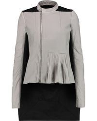 Rick Owens Gray Leather-paneled Felted Wool And Cotton-blend Coat