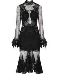 Jonathan Simkhai Black Corded-lace Midi Turtleneck Dress
