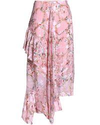 Preen By Thornton Bregazzi Asymmetric Floral-print Devoré Silk-blend Chiffon Midi Skirt Pastel Pink