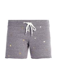 Monrow Gray Metallic Printed Jersey Shorts