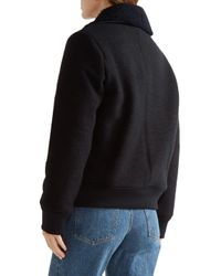 A.P.C. Blue Stacy Faux Leather And Shearling-trimmed Wool Jacket