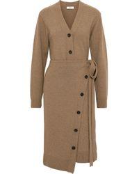 Goen.J Natural Wrap-effect Button-detailed Wool Cardigan Sand