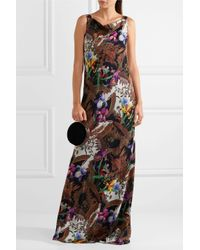 Etro Brown Open-back Printed Silk-crepe Gown