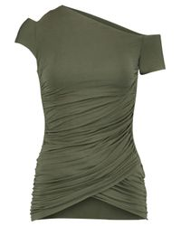 Bailey 44 Table Mountain One-shoulder Ruched Stretch-jersey Top Army Green