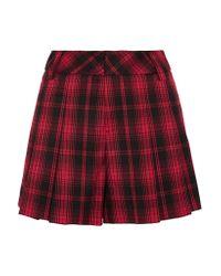 Alice + Olivia - Red Tartan Flannel Shorts - Lyst