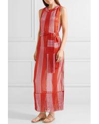 Missoni Pink Mare Fringed Metallic Crochet-knit Maxi Dress