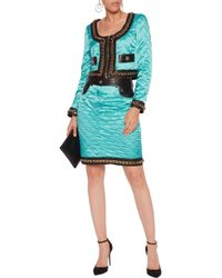 Moschino Blue Chain-trimmed Leather-paneled Quilted Satin Jacket