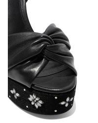 Rachel Zoe - Black Knotted Leather And Embellished Velvet Platform Sandals - Lyst