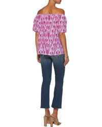 Joie Multicolor Off-the-shoulder Printed Silk Top
