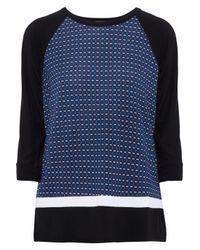DKNY Blue Printed Stretch-modal Pajama Top Navy