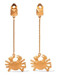 Valentino - Metallic Cancer Gold-plated Earrings - Lyst