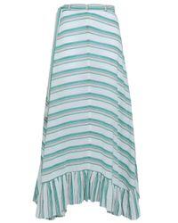Zimmermann Green Striped Cotton-gauze Maxi Skirt Emerald