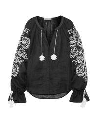 March 11 Black Garden Embroidered Linen Top