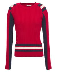 Rag & Bone Striped Ribbed-knit Sweater Red