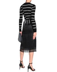 McQ Alexander McQueen Lace-trimmed Silk-satin Skirt Black