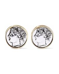 Kenneth Jay Lane - Metallic Embossed Silver And Gold-tone Clip Earrings - Lyst
