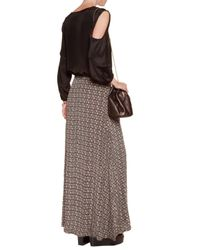 Talitha Black Embroidered Printed Silk Crepe De Chine Maxi Skirt