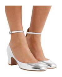 Valentino Metallic Tango Mirrored-leather Pumps Silver