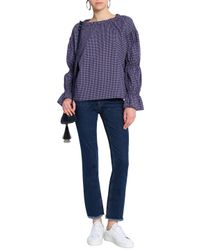 MiH Jeans - Blue Gathered Gingham Cotton-blend Top - Lyst