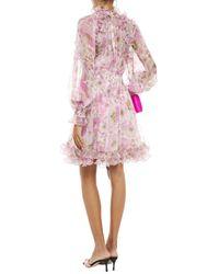Zimmermann Ruffled Floral-print Silk-georgette Mini Dress Baby Pink