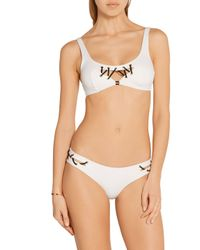 Agent Provocateur - White Lilah Embellished Cutout Bikini Briefs - Lyst