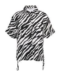 W118 by Walter Baker Zebra-print Crepe De Chine Shirt Black