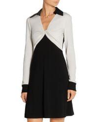 Diane von Furstenberg | Black Two-tone Wool-jersey Dress | Lyst