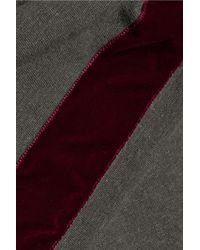 Haider Ackermann Twisted Velvet-trimmed Cotton-blend Top Army Green
