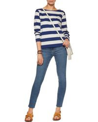 MiH Jeans Blue Striped Cotton-jersey Top