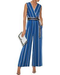 Diane von Furstenberg Wrap-effect Striped Twill Jumpsuit Blue