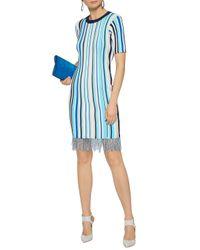 MILLY Blue Frayed Striped Ribbed-knit Dress