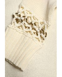 A.L.C. White Embellished Knitted Cotton Sweater