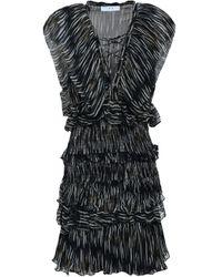 IRO Lace-up Printed Georgette Mini Dress Midnight Blue