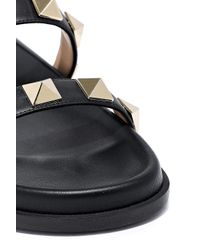 Valentino Garavani Rockstud Leather Slides Black