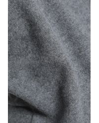 Carven Gray Faux Leather-trimmed Wool-blend Sweater