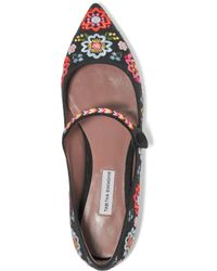 Tabitha Simmons Black Hermione Fest Embroidered Canvas Point-toe Flats