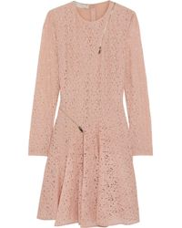 Stella McCartney Zip-detailed Cotton-lace Mini Dress Pastel Pink