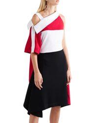 Koche Red Koché Asymmetric Draped Cotton-twill And Jersey Dress Multicolor