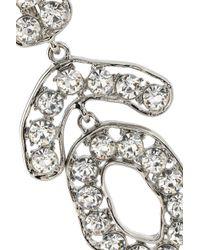 Kenneth Jay Lane Metallic Woman Silver-tone Crystal Clip Earrings Silver