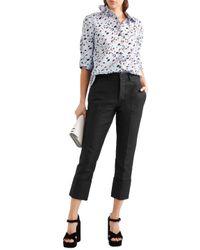 Marni Cropped Cotton Slim-leg Pants Black