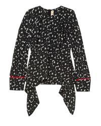 Marni Gothica Asymmetric Printed Silk Crepe De Chine Blouse Black