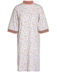 Acne Multicolor Printed Cotton Mini Dress Blush