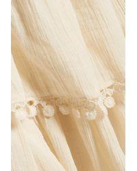 LoveShackFancy Natural Embroidered Pleated Cotton-gauze Mini Skirt