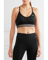 Nike Black Indy Mesh-trimmed Dri-fit Stretch-jersey Sports Bra