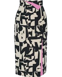 ROKSANDA Black Bahari Printed Canvas Skirt